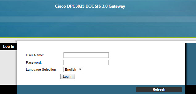 Picture of the login screen for a Cisco router that supports WiFi