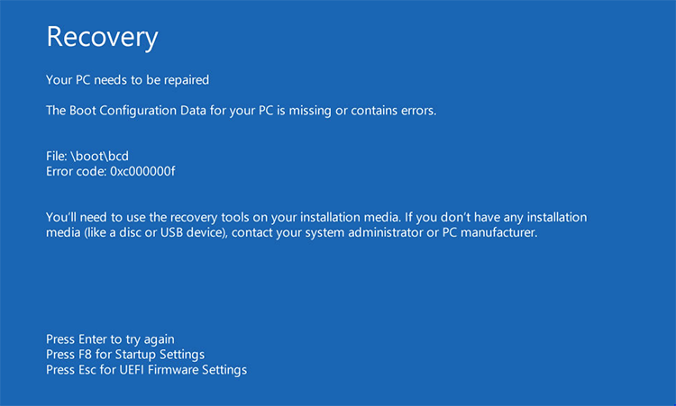 Windows 10 error message: Recovery - Your PC needs repairs