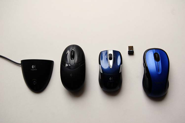 Comparing my old USB connected mouse to the new Logitech M525 and Logitech M510 wireless computer mice