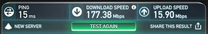 Speed test results for my cable modem in my home office network